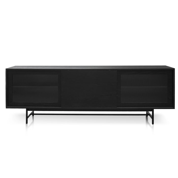 Sergio 2.1m Wooden Entertainment TV Unit - Full Black with Flute Glass Door