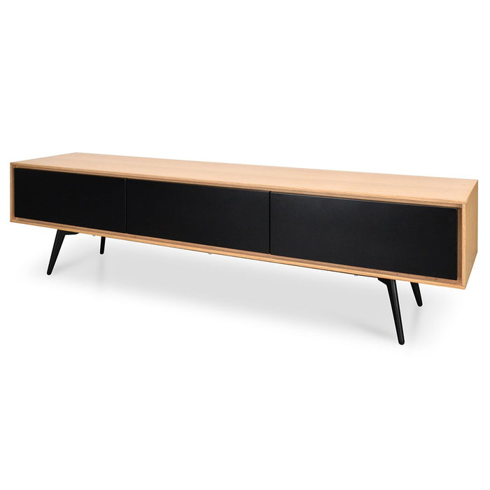 Clearance - Liam 180cm TV Unit With Black Drawers - Natural