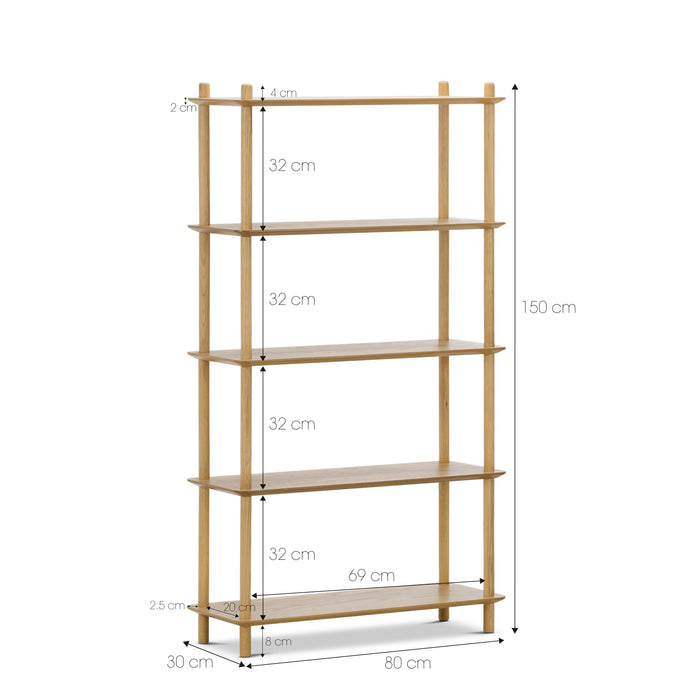 Tallulah 5-Tier Oak Shelving Unit - Natural