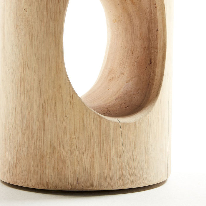 Trai Solid Mungur Timber Round Side Table
