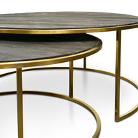 Alenzo Nest 76cm-96cm Coffee Table - Natural - Golden Base