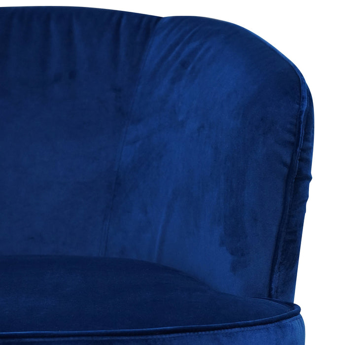 Alfonzo Velvet Fabric Armchair - Navy Blue