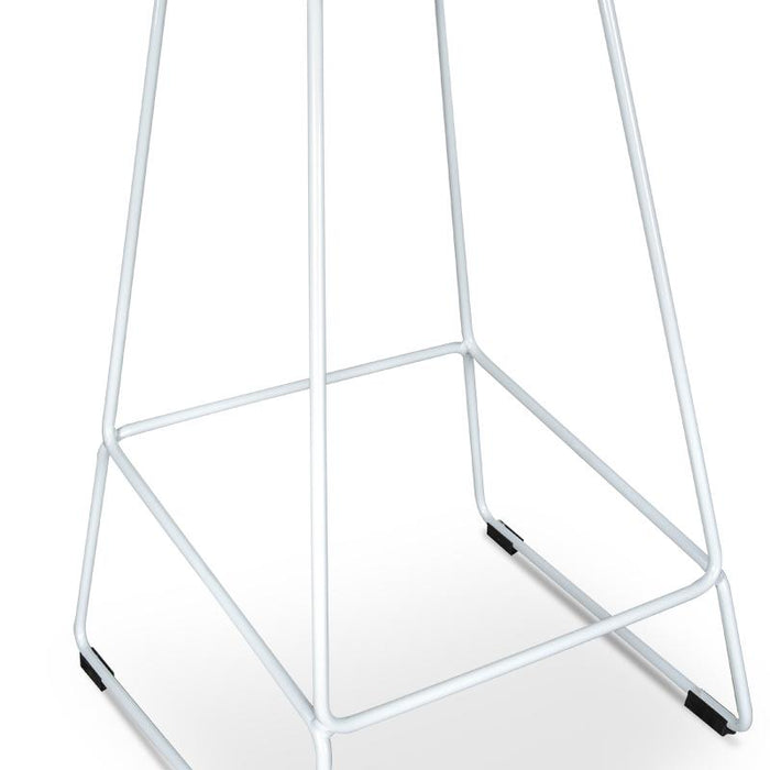 Allen 65cm Bar Stool - White Seat with White Metal Frame