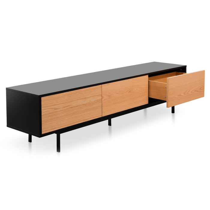 Alto 2m Entertainment TV Unit With Natural Drawers - Black Frame