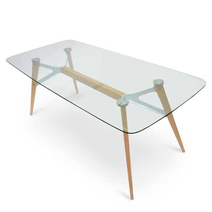 Alton 2m Glass Dining Table - Natural