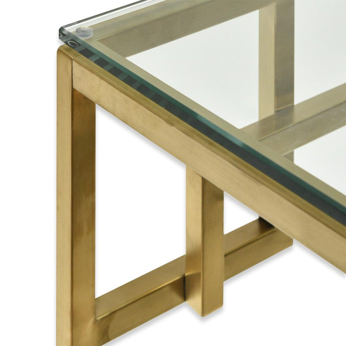 Anderson 1.15m Console Glass Table - Brushed Gold Base