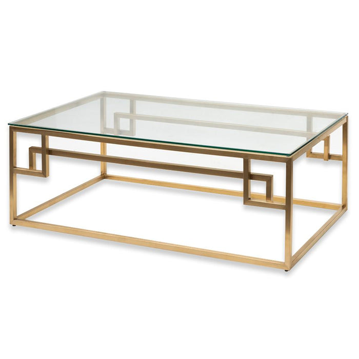 Anderson 1.2m Coffee Table - Glass Top - Brushed Gold Base