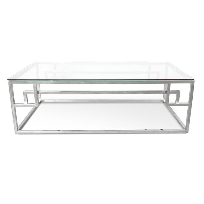 Anderson 1.2m Coffee Table With Tempered Glass - Stainless Steel Base(Discontinued)