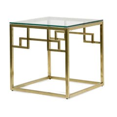Anderson Side Table - Glass Top - Brushed Gold Base