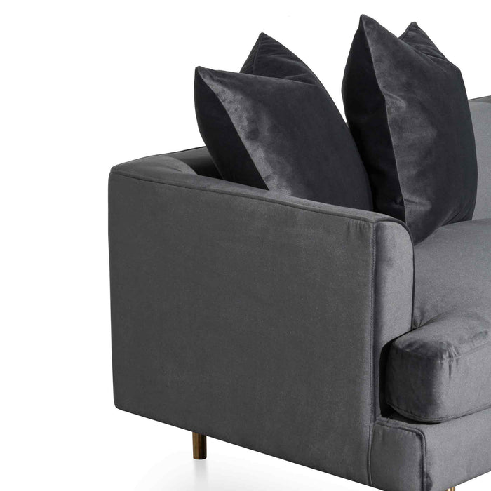Andre 3 Seater Sofa - Cosmic Grey velvet with Brushed Gold Legs