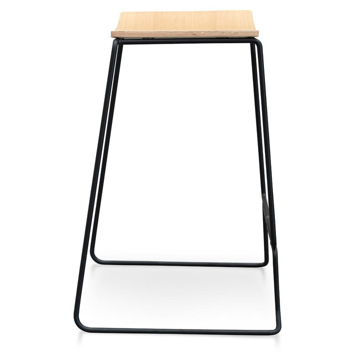 Apollo Bar Stool With Natural Timber Seat - Black Frame