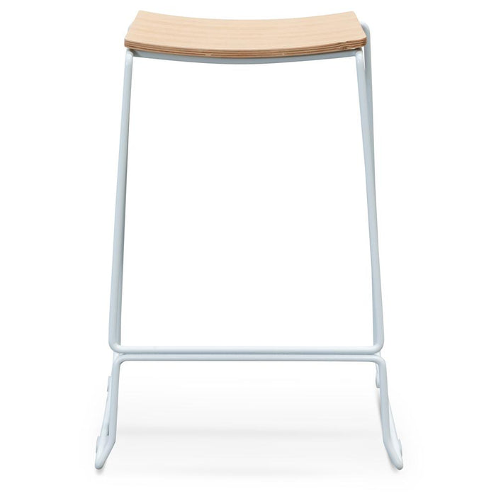 Apollo Bar Stool With  Natural Timber Seat - White Frame