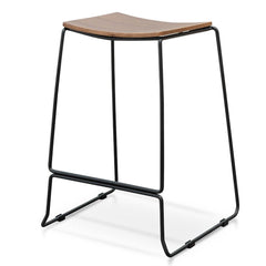 Apollo Bar Stool With Walnut Timber Seat - Black Frame