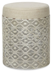 Arifa Round Metal Low Stool - Beige