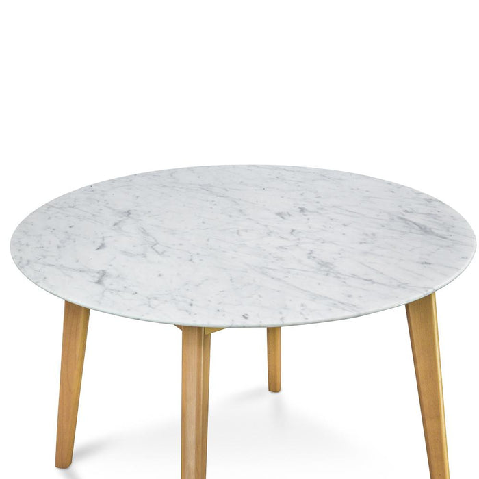 Aron 100cm  Marble Dining  Table - Natural Base