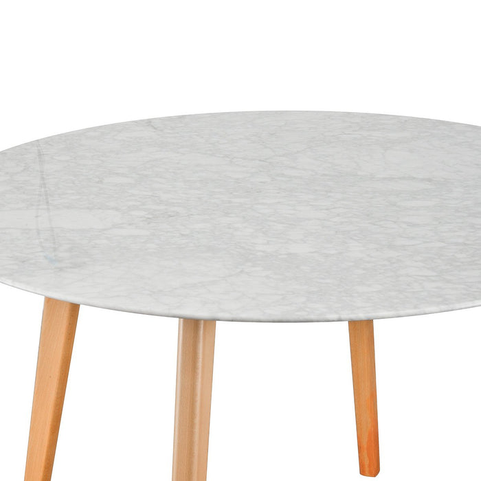 Aron 120cm Marble Dining  Table - Natural Base