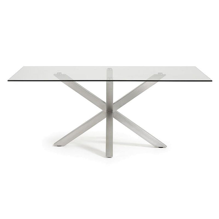 Arya 2m Glass Dining Table - Stainless Steel