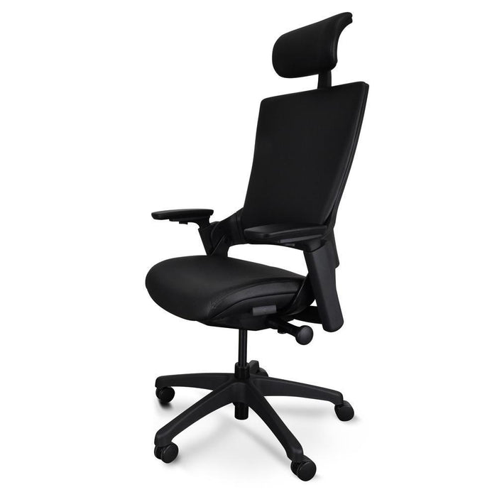 Atlas Ergonomic Leather Office Chair With Head Rest - Black
