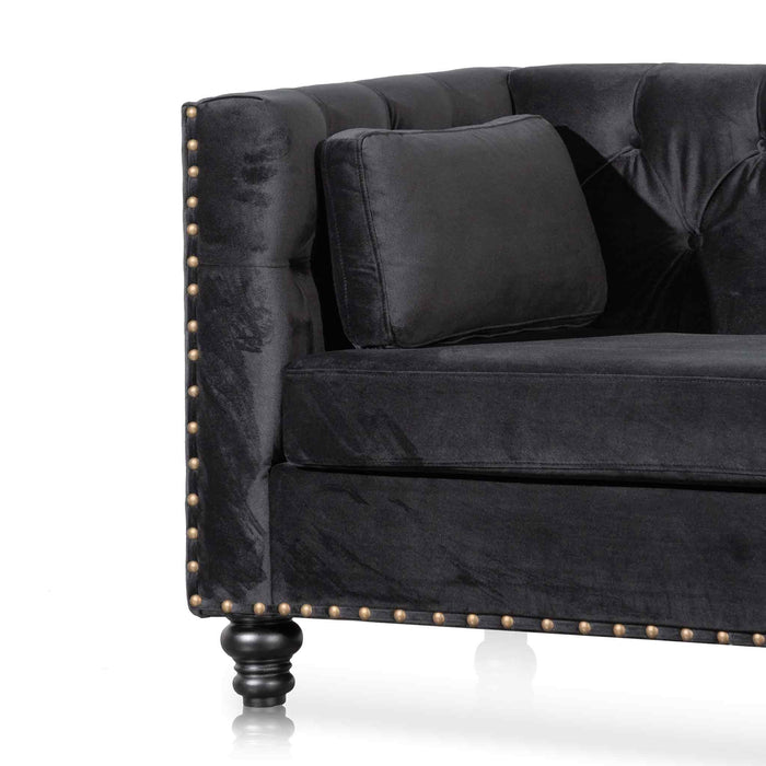 Aurea 3 Seater Sofa - Black Velvet