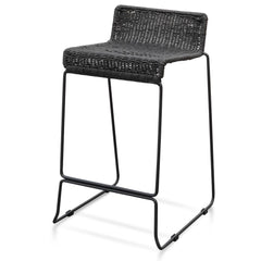 Bailey 65cm Cord Seat Bar Stool - Black