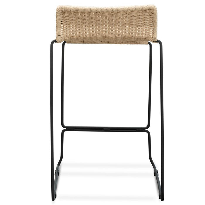 Bailey 65cm Natural Cord Seat Bar Stool - Black Legs