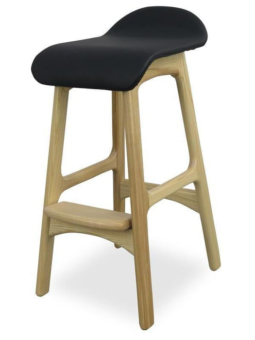 Erik Buch Replica 66cm Bar Stool - Black Seat - Natural