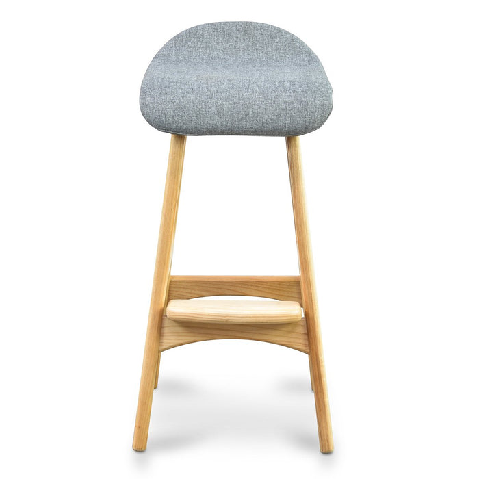 Erik Buch Replica 66cm Bar Stool - Light Grey Fabric - Natural