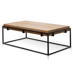 Barry 1.4m Reclaimed Pine Rectangular Coffee Table - Black Base