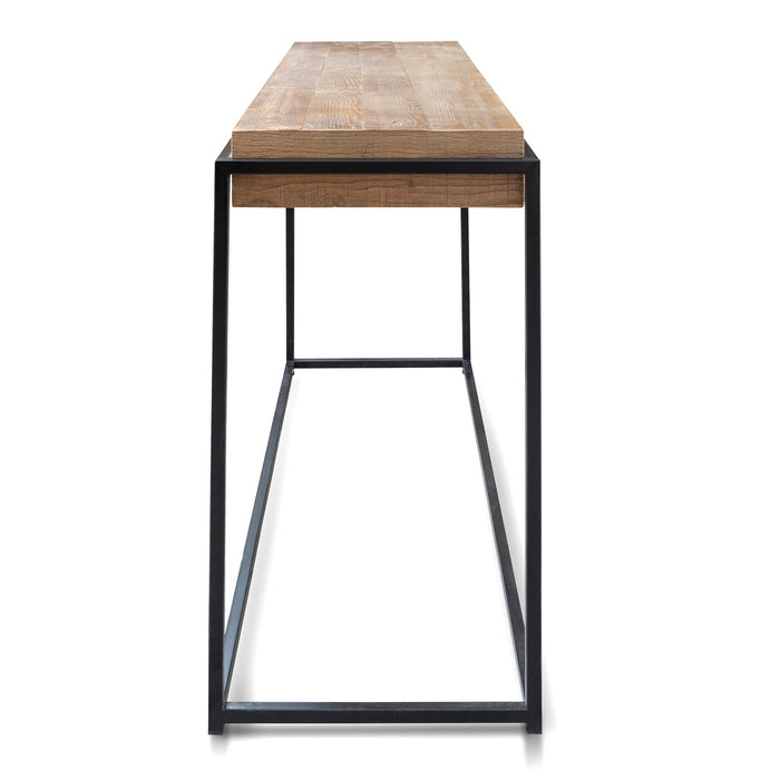 Barry 1.4m Reclaimed Pine Console Table - black base
