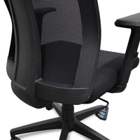 Benson Mesh Fabric Office Chair With Head Rest - Black