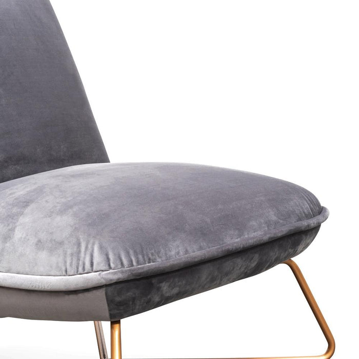 Betty Lounge  Chair - Dark Grey Velvet - Gold Legs