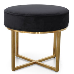 Bianka Steel Frame Ottoman In Black Velvet Seat - Brushed Gold Base
