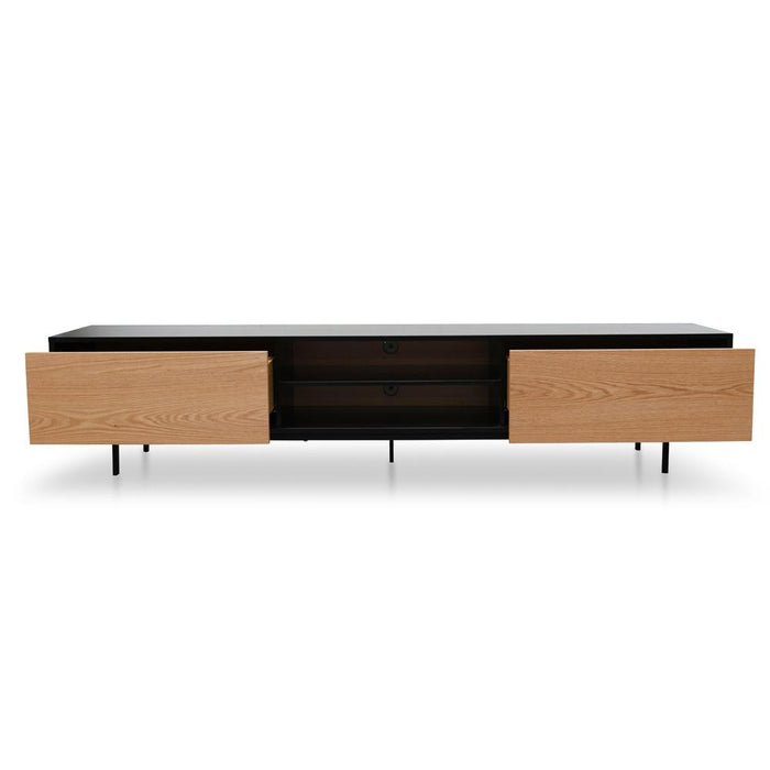 Blake 2.3m Entertainment TV Unit - Black Frame - Natural Drawers