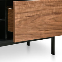 Blake 2m Entertainment TV Unit - Matte Black - Walnut Drawers