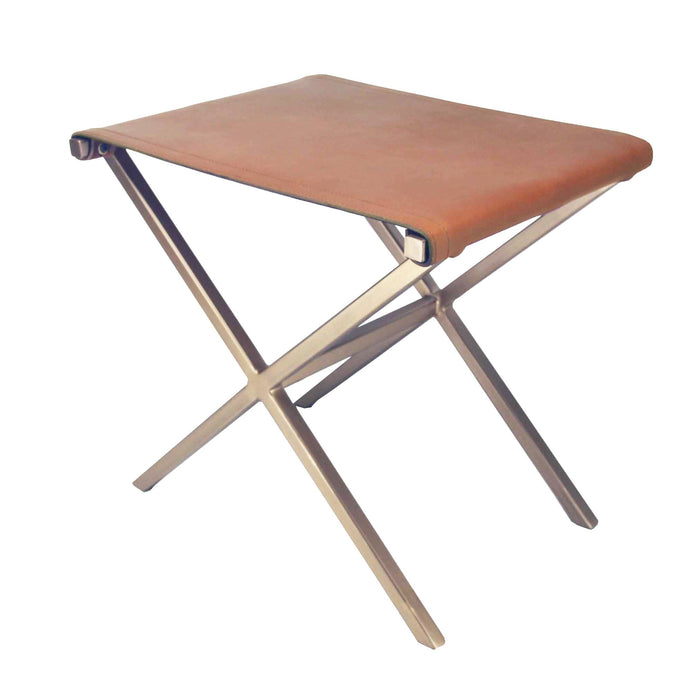 Botswana Leather Directors Stool - Tan