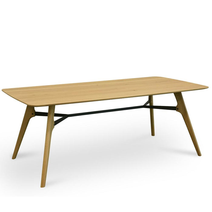 Brad 2m Dining Table - Natural - Black