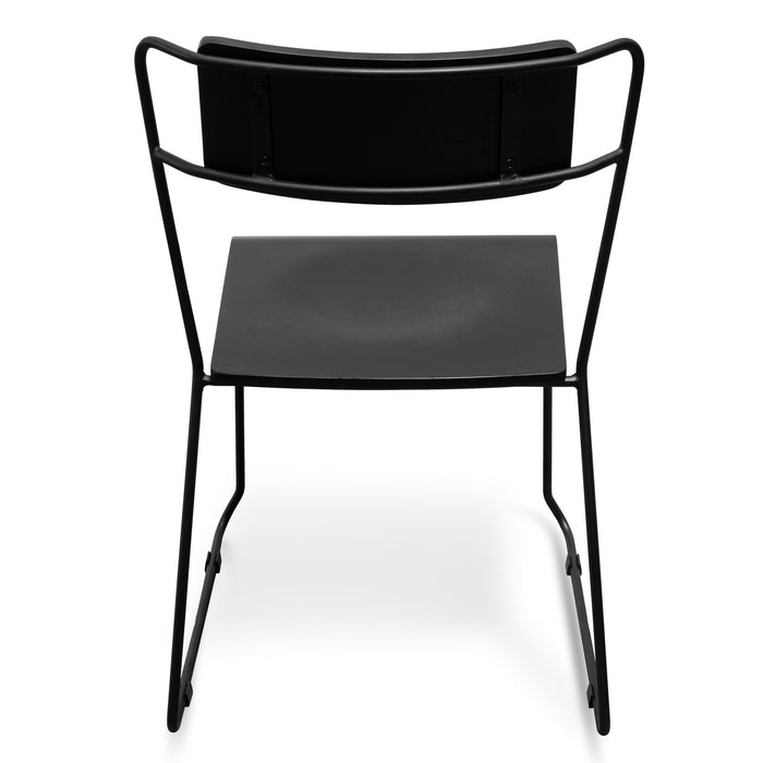Bradley Dining Chair With Black Timber Seat - Black Frame