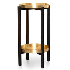 Brass Tray Side Table - Black Frame