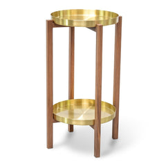 Brass Tray Side Table - Walnut Frame