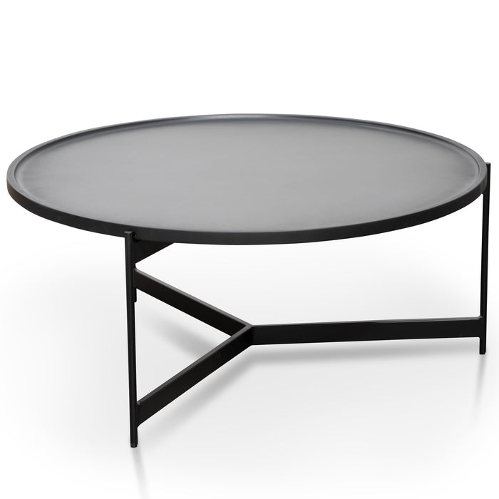 Burton 90cm Round Coffee Table - Matt Black