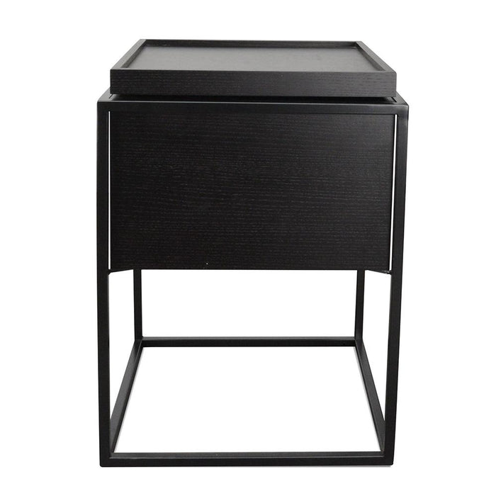 Cane Scandinavian Side Table - Black