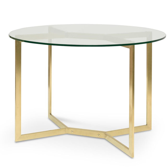 Cannon 1.1m Round Glass Dining Table -  Gold Base