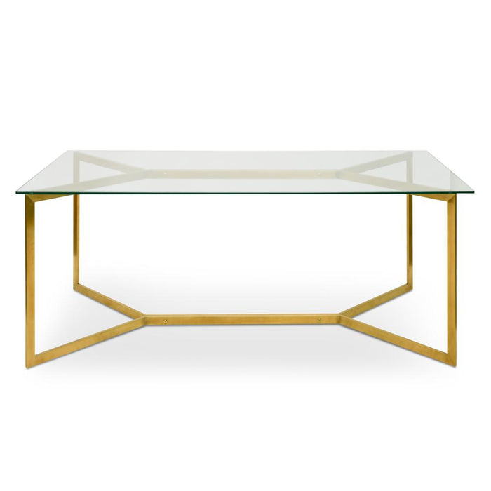 Cannon 1.9m Glass Dining Table -  Gold Base