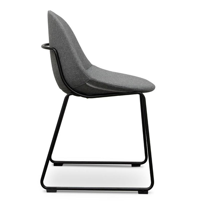 Canyon Dining Chair - Light Grey - Black Legs