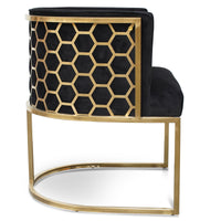 Carma Lounge Chair In Black Velvet Seat - Brushed Gold