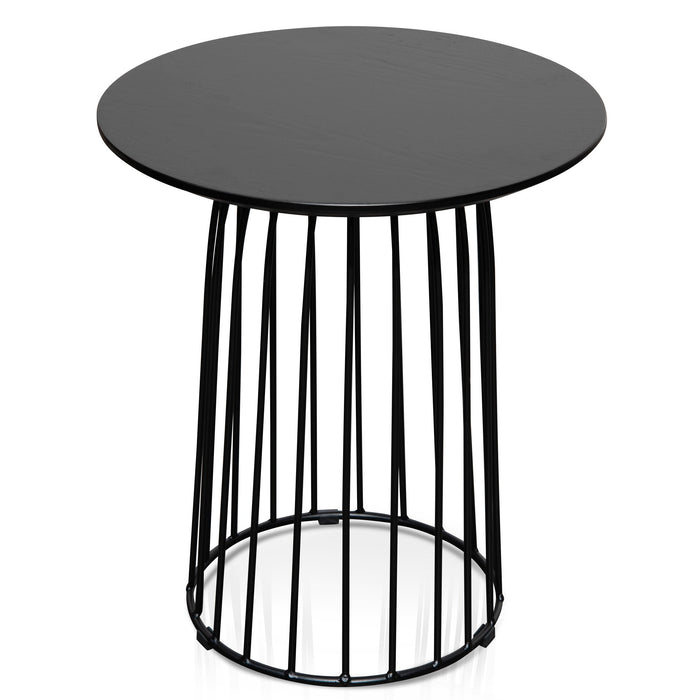 Carmella Round Side Table Set - Black Oak Veneer