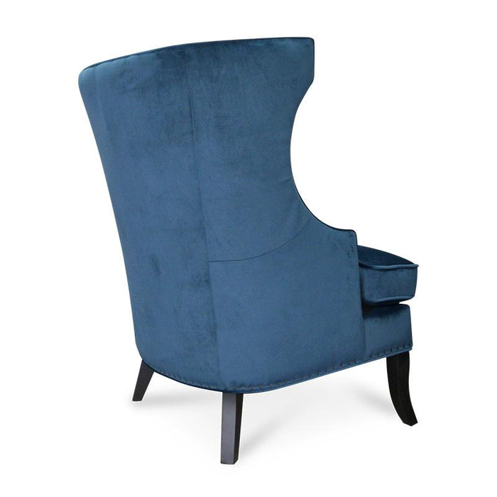 Cecilia Velvet Wingback Armchair in Navy Blue