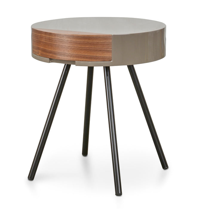 Celdon Round Side Table - Stone Gloss - Walnut Drawers