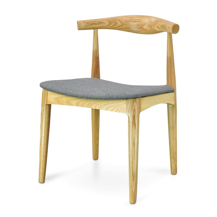 CH20 Elbow Dining Chair -  Natural with Light Grey Fabric Seat