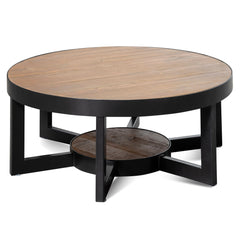 Chamber 90cm Reclaimed Pine Round Coffee Table - Black Base